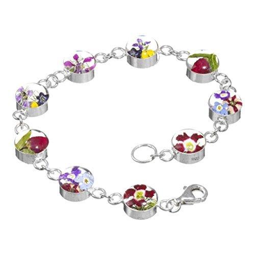 Shrieking Violet - Vraies Fleurs en Résine - Bracelet Femme - Argent 925