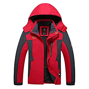 Modern Fantasy Mens Outdoor Sport Detachable Hood Down Jacket Size US Red 4XL