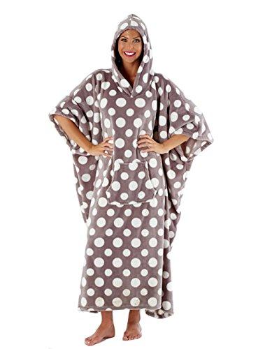 Pink i-Smalls Women/'s Long Dot Print Micro-Fleece Hooded Kaftan Poncho