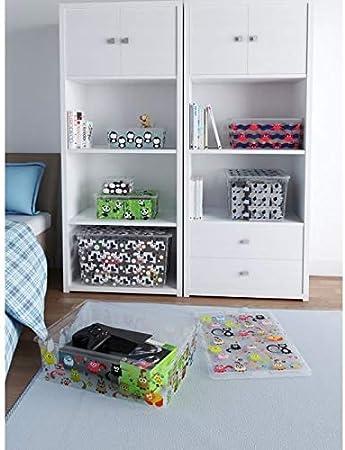 Carrefour 8418000 Caja de almacenaje Multicolor Rectangular De plástico - Cajas de almacenaje (Caja de almacenaje, Multicolor, Rectangular, De plástico, Imagen, Interior): Amazon.es: Hogar