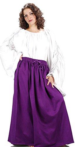 Medieval Renaissance Pirate Eleanor Cotton Skirt Costume [Purple] (Eleanor Cotton Skirt)