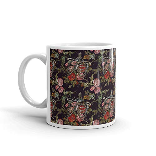 Embroidery Human Rib Cage With Red Roses Seamless Pattern Gothic Skeleton Ribs And Flowers Fashionable Science Water Mug Ceramic 11oz Cup -