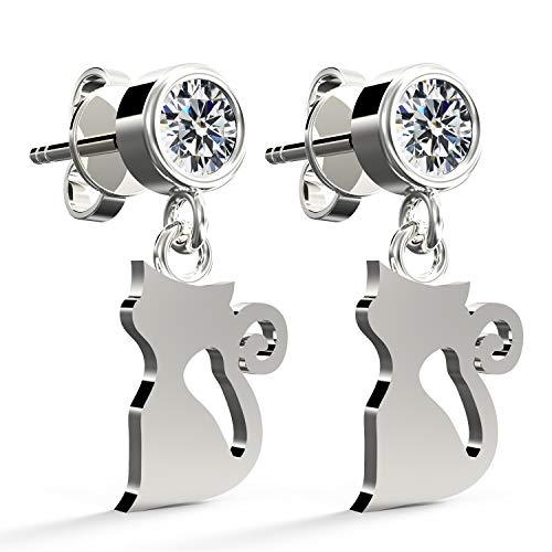 .925 Sterling Silver Cubic Zirconia Round Brilliant-Cut Stud Earrings, Cat