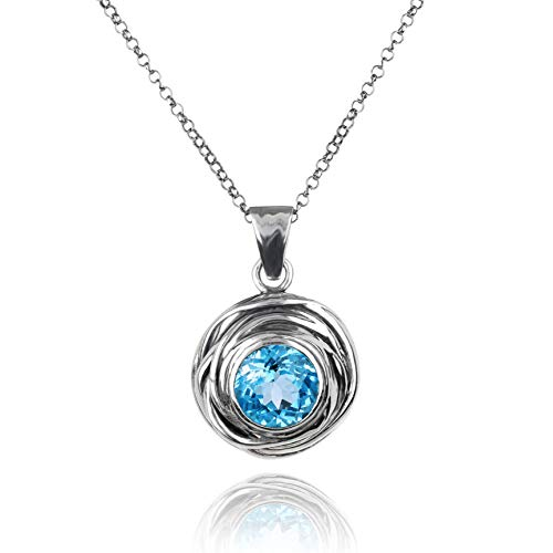 (Paz Creations 925. Sterling Silver Swirl Design Solitaire Gemstone Pendant Necklace (Blue-Topaz) )