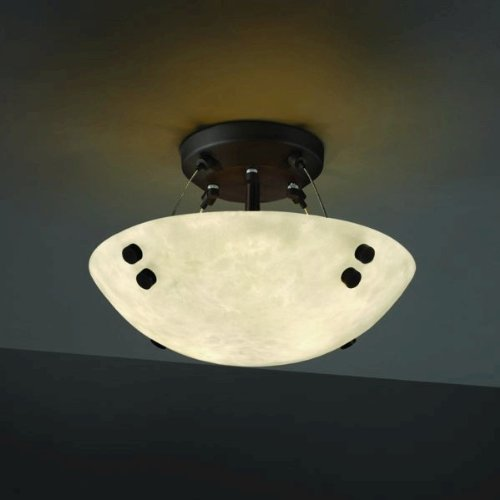 Justice Design CLD-9650-35-DBRZ-F3 Clouds - Two Light Semi-Flush Mount, Choose Finish: Dark Bronze Finish, Finial Options: F3 - Pair Square w/Points Finial, Choose Lamping Option: Standard Lamping - Cloud Bronze Semi Flush