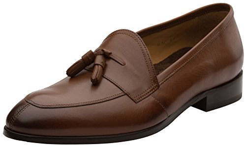 Dapper Shoes Co. Genuine Leather Handcrafted Men's Classic Tassel Loafer Leather Lined Shoes US 12-12.5 Brown - Genuine Loafers