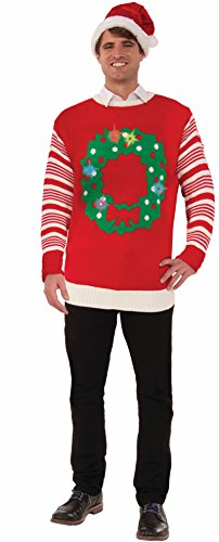 Forum Women's Light Up Wreath Ugly Christmas Sweater, Red, X-Large