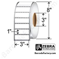 Zebra Technologies 10000303 Z-Perform 1000D Paper Label, Direct Thermal, 3 x 1, 3 Core, 8 OD, 5500 Labels per Roll (Pack of 6)
