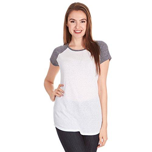 X America Baseball Tee Shirts Women, Junior & Plus Size T Shirts for Women White/Black