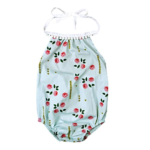 Lonsbo Newborn Infant Baby Girl Bodysuit Floral Romper Jumpsuit Outfits Sunsuit Clothes (Golden Bandeau)