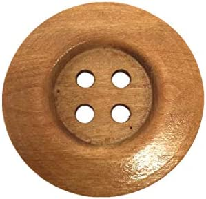 10pcs 50MM Buttons Wooden Round Four Holes Buttons Fastener for DIY Craft Sewing