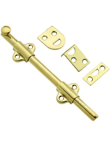 6'' Light Duty Surface Bolt In Solid Brass in Unlacquered Brass by B&M Hardware