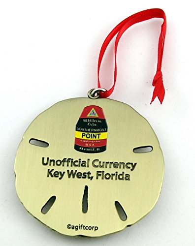 Ornament Key (Key West Florida Southernmost Point Sand Dollar Ornament Gold)