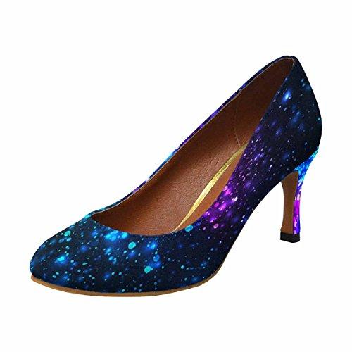 InterestPrint Womens Classic Fashion High Heel Dress Pump Shoes Rainbow Glowing Light Glitter OdYbp66
