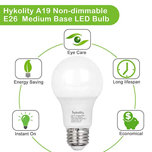 24 Pack 60W Equivalent A19 LED Light Bulb, 9W, 5000K Daylight, 800LM, E26 Medium Base, Non-Dimmable, UL Listed