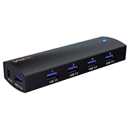Pawtec 4-Port Aluminum USB 3 0 SuperSpeed Powered Hub Compact & Portable w/  AC Adapter [VIA VL812-B2 Chipset] for Windows, Mac, Linux, Surface Pro 4,