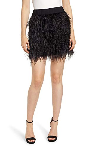 CHELSEA28 Genuine Ostrich Feather Mini Skirt-Size XS ()
