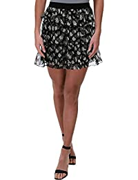 Women's Scratched Leo Print Tiered Skirt