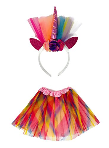 Rush Dance Tutu Skirt, Ears, Tail Headband Halloween School Performance Costume (Kid Size (2-8 Years Old), Rainbow (Halloween Costumes For Bigger Girls)