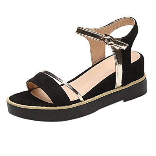 Chaussures Simples GreatestPAK Été Augmenter Haut Poisson Tête Plate Sandales de la Femme Noir hU9moF1
