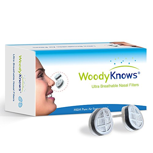 WoodyKnows Ultra Breathable Nose Nasal Filters (New Model) to Block Hay Fever, Pollen & Dust, Pet Hair and Dander, Allergy Relief (3 Filter Frames and 6 Pairs of Replacement - Get To Perfect Structure How Face