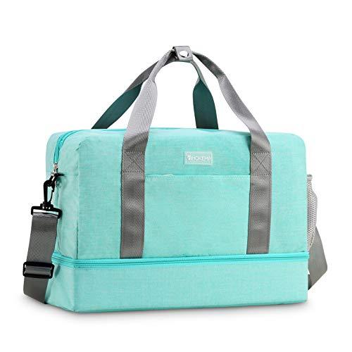 Men Women Waterproof Shoulder Gym Bag - Sport Duffle Holdall Bag Training Handbag Yoga Bag Weekend Travel Dry Wet Separation Shoes Isolation Swim Bag (Light Blue3)