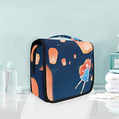 (Mr.XZY Toiletry Bag Fantasy Theme Pattern Multifunction Cosmetic Bag Cute Girl With Flying Sky Lanterns Galaxy Portable Makeup Pouch Travel Hanging Organizer Bag for Women Girls 3010169)