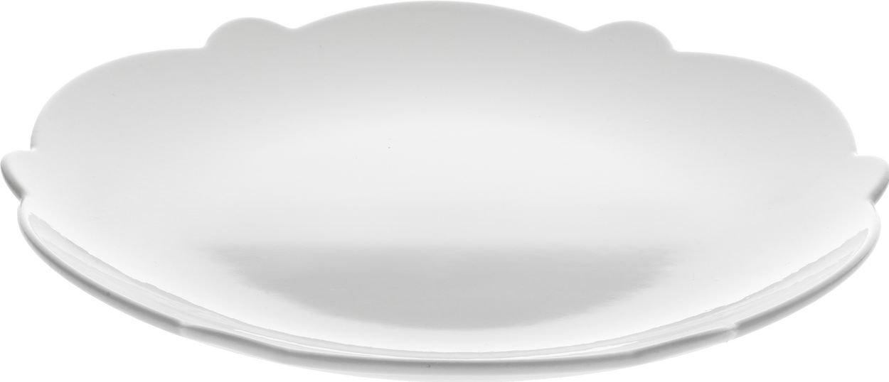 Alessi Dressed Piatto da Colazione in Porcellana Bianca con Decoro a Rilievo, Porcellana, Argento, 6.0000 x 18.0000 x 16.0000 cm MW01/94