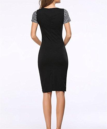 Couture Mode Blanc Robe Carreaux Black Jupe Paquet et lastique Noir Hanche Slim Robe Crayon Weekendy YdwqXd
