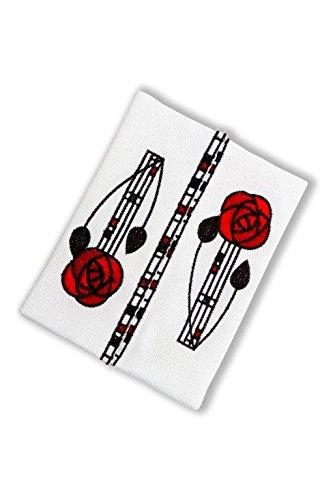 Pocket Tissue Holder in a Mackintosh Rose and Lattice Design (red)