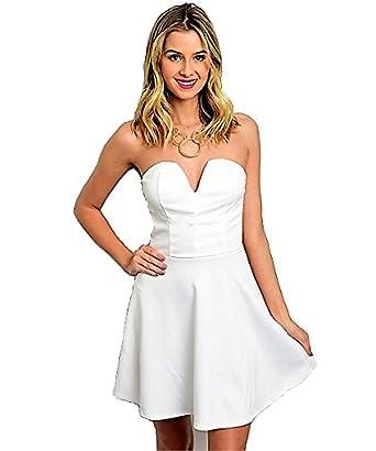 df0da8eb506a Charlotte Russe White Dress - White -: Amazon.co.uk: Clothing