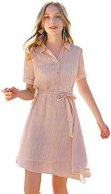 Yijiayu Vestido Cintura Lazo Adelgaza una Palabra Vestido de ...