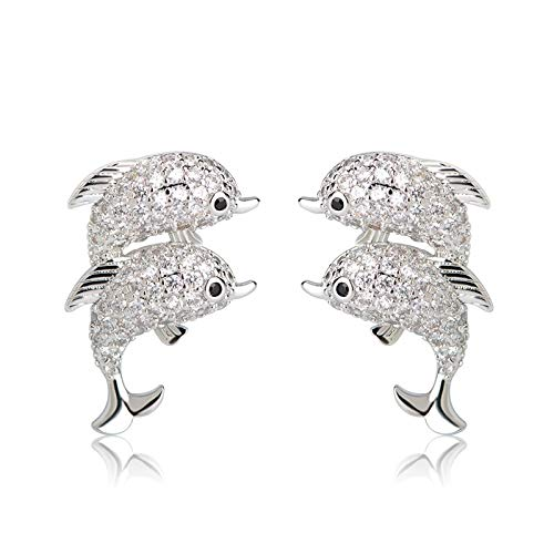 (Cubic Zircon Double Dolphin Earrings Gold Color England Hook Animal Copper Stud Earring Brincos Bijoux Piercing Jewelry (Silver Color))