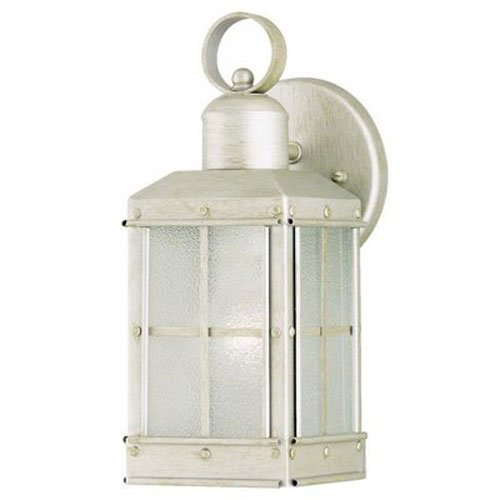 Westinghouse Lighting 6961000 One-Light Exterior Wall Lantern, Pewter Patina Finish on Steel with Ice Glass Panels