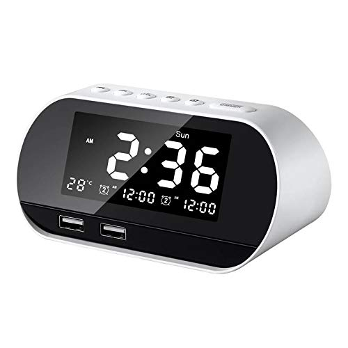 xinrongqu USB Charging Alarm LCD Perpetual Calendar Temperature Display White 1307162Mm