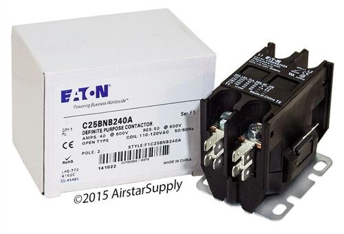 GE CR453CE2ABB - Replaced by Eaton/Cutler Hammer C25BNB240A Contactor, 2-Pole, 40 Amp, 120 VAC Coil Voltage