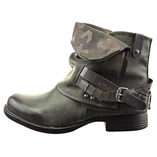 Sopily - Chaussure Mode Bottine Motard hauteur cheville femmes Brillant boucle clouté Talon bloc 2.5 CM - Gris