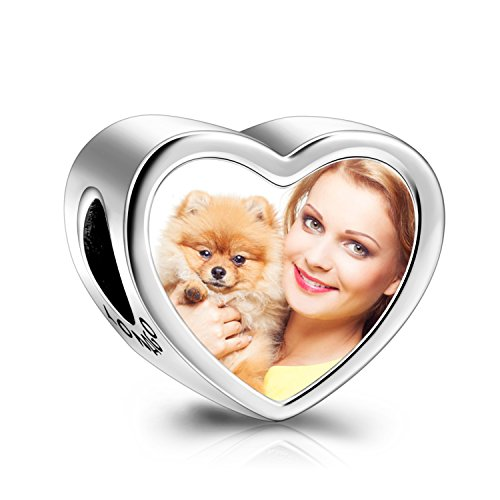 LONAGO Customized Personalized Paw Prints Heart Photo Charms Sterling Silver Charms Beads (Cat Dog Paw Prints) (Bouquet Photo Pendant)