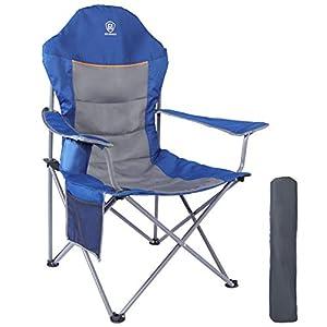 41aXuTBlR2L. SS300 EVER ADVANCED Klappstuhl Campingstuhl Angelnstuhl faltbar hoher Rücken mit Getränkehalter Seitentasche Übergröße…