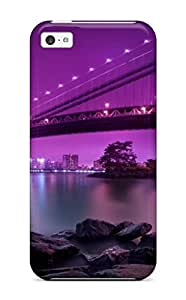Anti-scratch And Shatterproof Artistic Night Manhattan Bridge New York City Phone Case For Iphone 5c/ High Quality Tpu Case