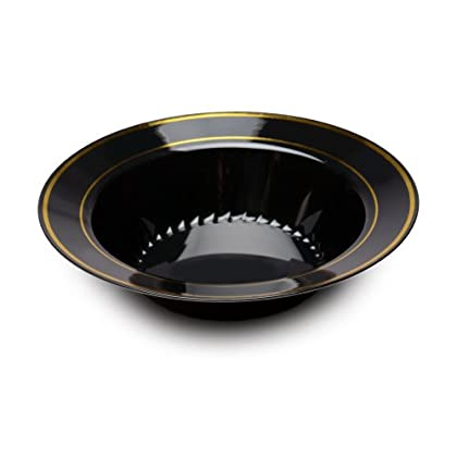 Image of Fineline Settings Silver Splendor Black With Gold Round China-Like 12 oz. Bowl 150 Pieces Bowls