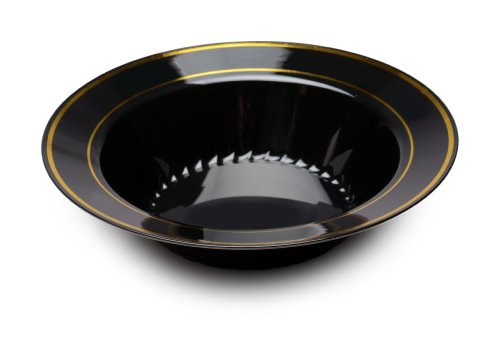 Gold Banded Fine China - Fineline Settings Silver Splendor Black With Gold Round China-Like 12 oz. Bowl  150 Pieces