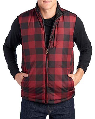 (Weatherproof Vintage Men's Reversible Vest Red Plaid Size)