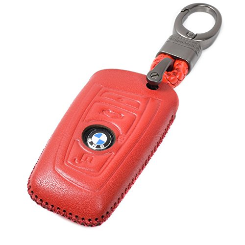 Vitodeco BMW Leather Smart Key Keyless Remote Entry Fob Case Cover with a Key Chain for BMW 1, 3, 4, 5, 6, 7 Series, X1, X3 (4 Buttons, Red)