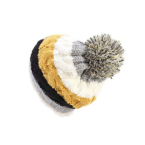 Fheaven Women Knit Slouchy Beanie Chunky Baggy Hat Pompom Winter Soft Warm Color Block Stripe Ski Cap (Yellow)