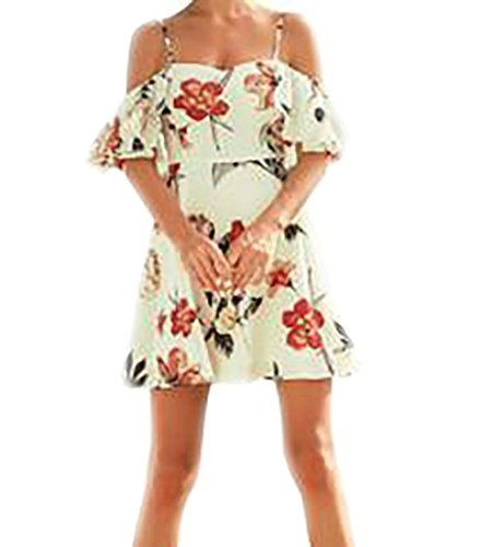 Wofupowga Women's Casual Floral Print Off Shoulder Ruffles Strap Beach Dress Beige XS by Wofupowga