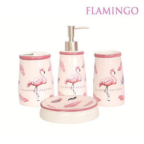 Binoster Bathroom Accessories Set,Lotion Dispenser, Toothbrush Holder, Tumbler and Soap Dish 4 Piece Pink Flamingo Housewarming - Dish Flamingo Soap