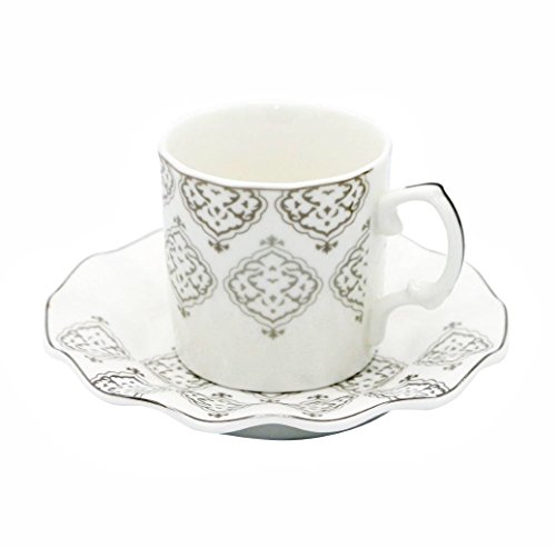 Porcelain Bone China Espresso Turkish Coffee Set of 6 Demitasse Cups + Saucers (Silver (Demitasse Cup Saucer)