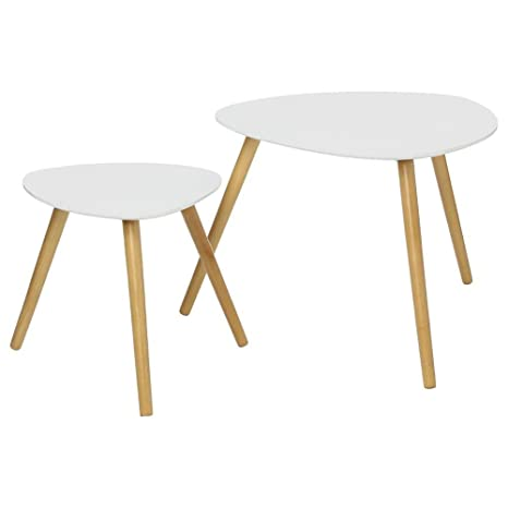 Table Basse Gigogne Blanche.Set De 2 Tables Basses Gigognes Blanches
