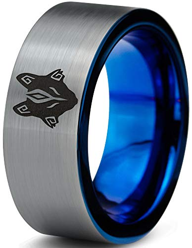 Zealot Jewelry Tungsten Tribal Wolf Band Ring 8mm Men Women Comfort Fit Blue Flat Cut Brushed Gray Polished Size 7 ()